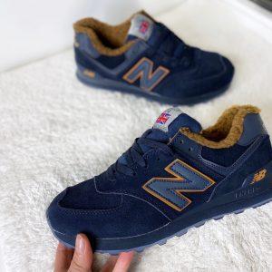 Кроссовки New Balance 574 синие с коричневым с мехом