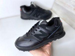 Зимние кроссовки Нью Баланс черные с мехом Локи