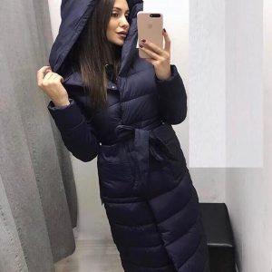 Женская зимняя куртка с поясом Верона синяя