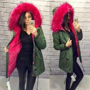 Зимняя куртка парка в стиле Bogner с розовым мехом
