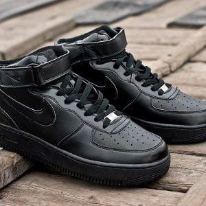 Кроссовки Nike Air Force черные высокие
