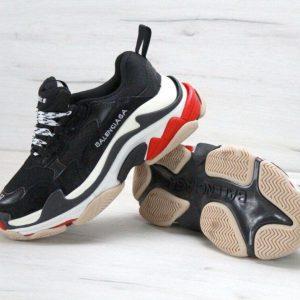 Кроссовки Balenciaga черные с белым и красным