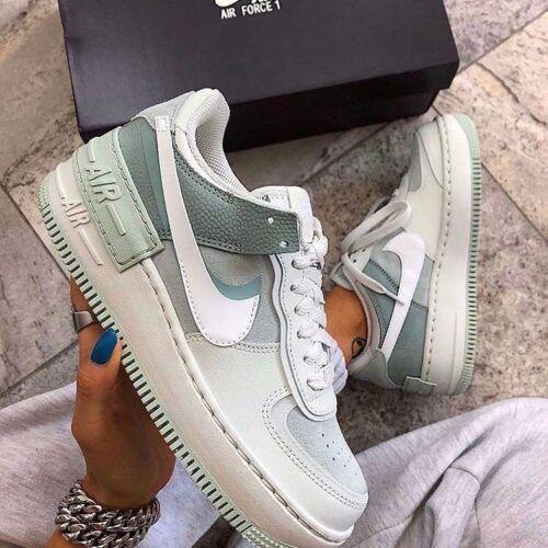 Кроссовки Nike Air Force Shadow мятные на толстой подошве