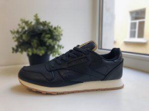 Кроссовки мужские Reebok Classic темно-синие кожаные