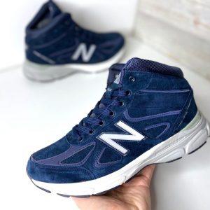 Кроссовки зимние Нью Баланс 990 синие с мехом