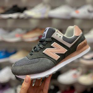 Кроссовки NB 574 темно-серые с персиковым
