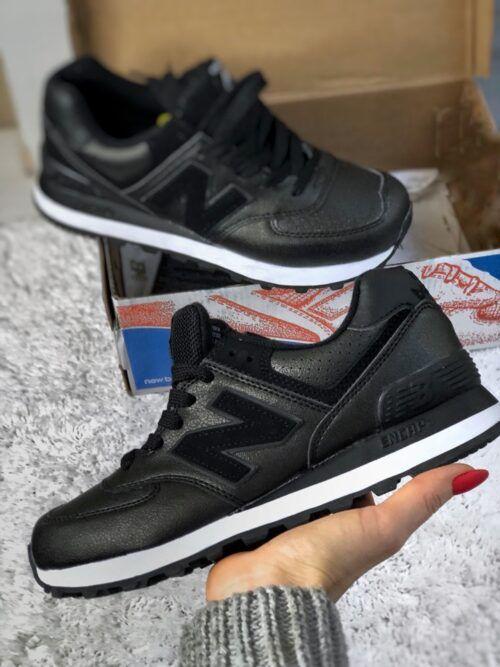 черные кожаные кроссовки NB