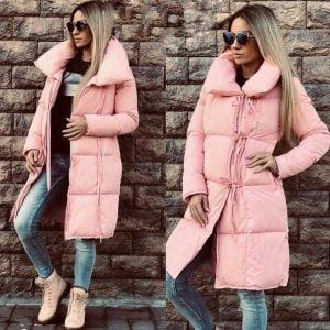 Женская зимняя куртка одеяло розовая