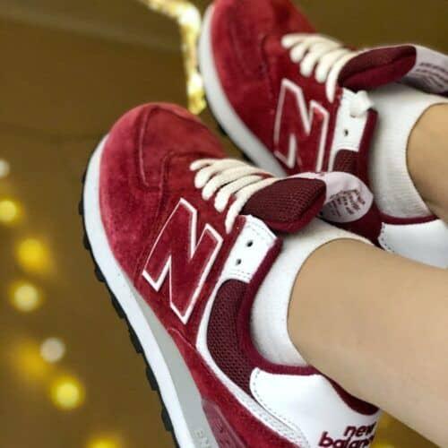 Кроссовки NB жеснкие бордовые