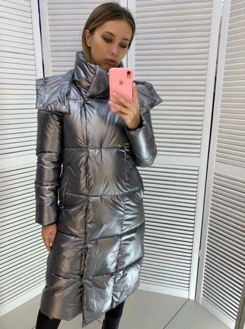 Женская длинная куртка с капюшоном Мелиса серебряная