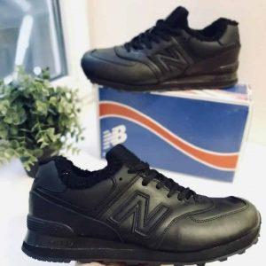 Зимние кроссовки  NB кожаные черные