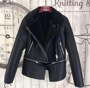 Куртка дубленка трансформер черная