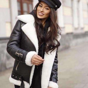 Женская дубленка с белым мехом Авиатор