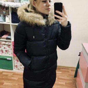 Женская длинная куртка с натуральным мехом Тутси