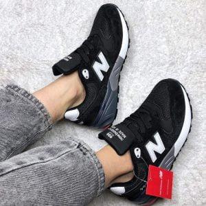 Кроссовки Нью Баланс 999 черно-белые с красным