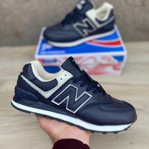 синие кожаные кроссовки NB