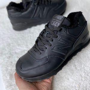 Зимние кроссовки  NB кожаные черные Nero