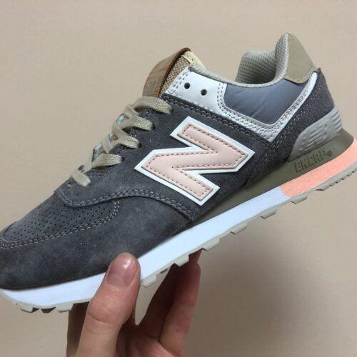 кроссовки темно-серые с розовым New Balance 574