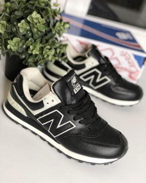 Кроссовки Нью Баланс 574 черные с белым кожаные