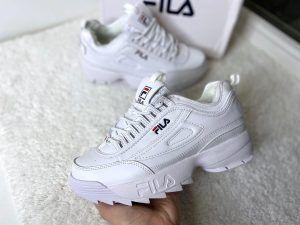 Кроссовки Fila Disruptor белые с мехом