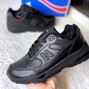 Кроссовки Нью Баланс 991 черные кожаные высокие