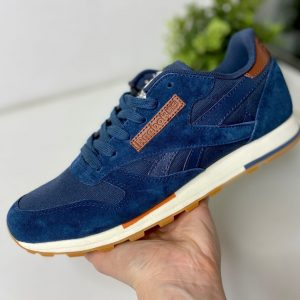 Кроссовки Reebok Classic синие с коричневым