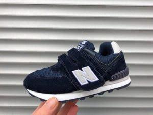 кроссовки New Balance детские 574 синие с серой буквой N