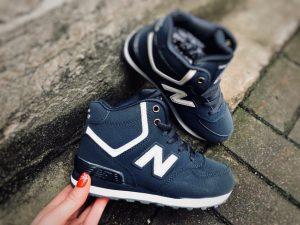 Детские зимние кроссовки New Balance высокие синие