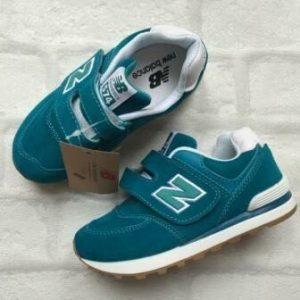 Детские кроссовки New Balance 574 зеленые с буквой N