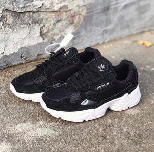 Кроссовки Adidas Falcon черные с белым