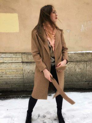 Пальто женское бордовое Каберне