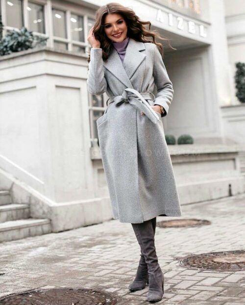 Пальто женское осеннее серое