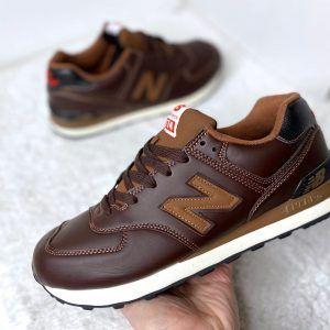 Кроссовки New Balance 574 коричневые с красным