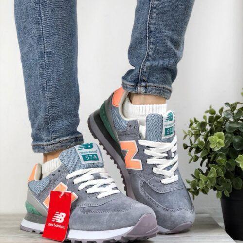 Женские кроссовки Нью Баланс серые с оранжевой буквой N
