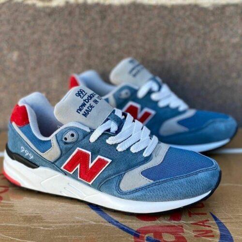 кроссовки 999 голубые с красным