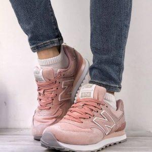Кроссовки женские New Balance 574 розовые пепел