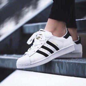 Кроссовки Adidas Superstar белые с черными полосками