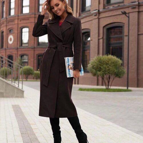 Жеское пальто темно-коричневое
