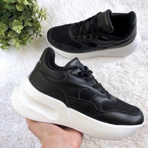 женские кроссовки на высокой платформе черные