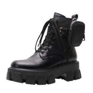 Ботинки на платформе в стиле Prada c мехом черные