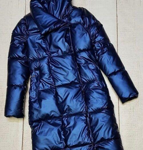 Куртка теплая зимняя металлик синяя