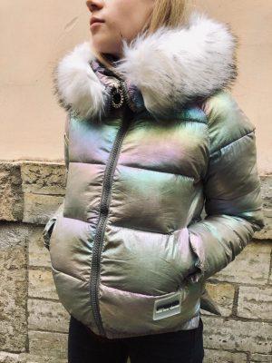 Куртка женская зимняя теплая синий металлик