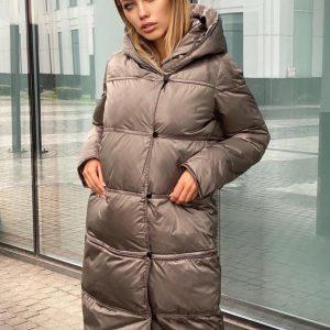 Женская зимняя куртка трансформер серая и черная