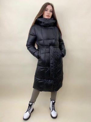 Куртка женская теплая с поясом Ариана черная