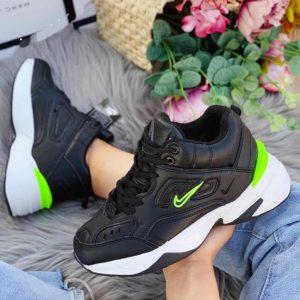 Кроссовки Nike Tekno c мехом черные с салатовым