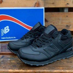 Кроссовки New Balance зимние кожаные черные с мехом