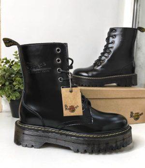 Кожаные черные ботинки Dr. Martens с мехом и без
