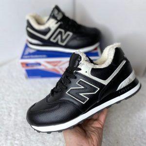 Зимние кроссовки NB черно-белые кожаные с мехом