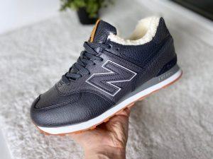 Кроссовки зимние NB черные с мехом высокие Black-Grey