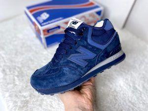 Зимние кроссовки New Balance 574 синие с синей подошвой высокие